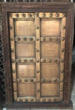 antique  brass plated teak shutter door, shekawati, 19th century <b>SOLD<b>
